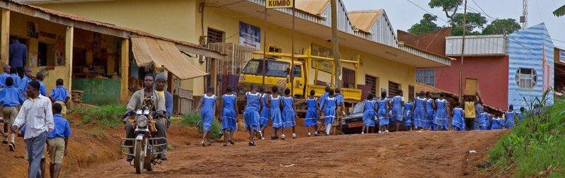 Kids on their way to school in Kumbo