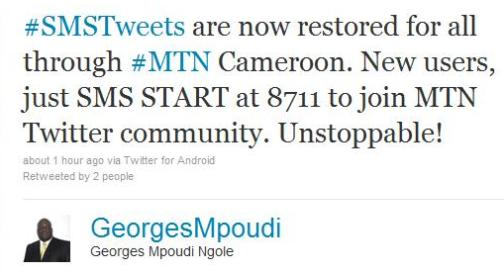 SMS Twitter Restored in Cameroon