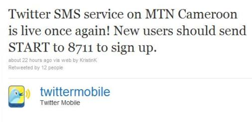 Twitter sms restored in cameroon