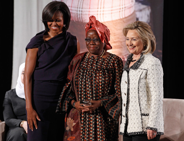 Michelle Obama, US First Lady and Hillary Clinton, US Secretary of State in picture with Cameroon's Ekwe at Internationa; Women of Courage Awards