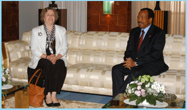 Biya and U_S Ambassador Janet Garvey