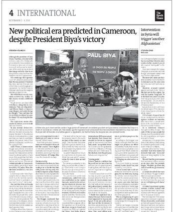 Epoch Times on Biya Victory
