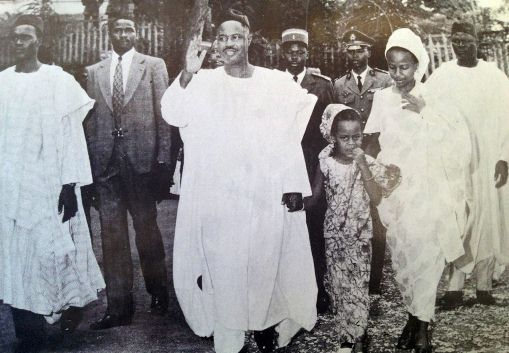 May 20 1972 Ahmadou Ahidjo with his daughters (Aminatou Ahidjo and Babette Ahidjo) as he heads towards the polling station to case his vote for the 1972 referendum