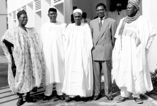 Left to Right-Chief Obafemi Awolowo, Dr Nnamdi Azikiwe, Alhaji Tafawa Balewa, Dr E.M.L. Endeley, Alhaji Ahmadu Bello, the Sardauna of Sokoto