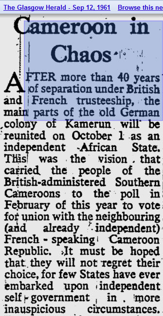 Chaos in Cameroon_The Glasgow Herald - Sept. 12, 1961