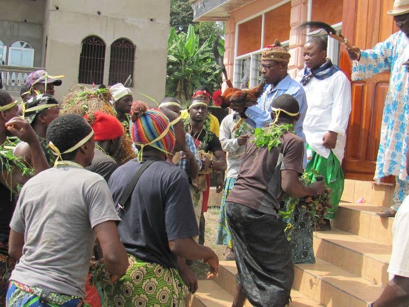 FA President Fike Monono at Chiefs Palace in Great Soppo Buea  being serenaded by the Liyangi la Nganya of the Nganya society