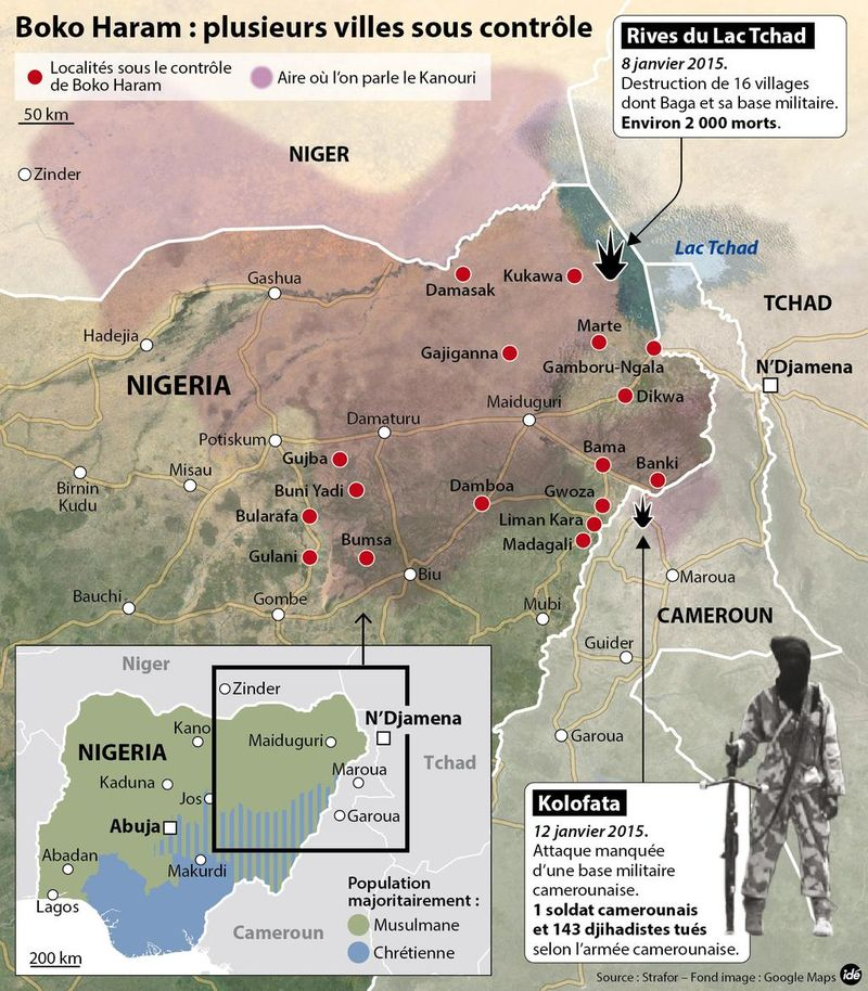 Towns controlled by Boko Haram as of January 14, 2015