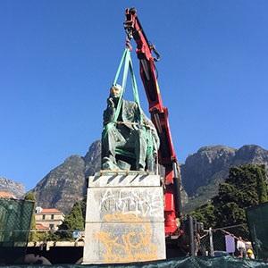 Rhodes statue falls